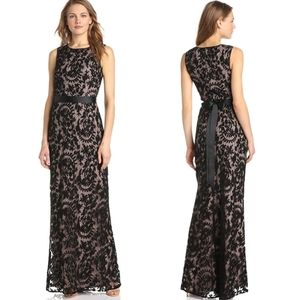 Adrianna Papell Mermaid Black Lace Maxi Gown Dress